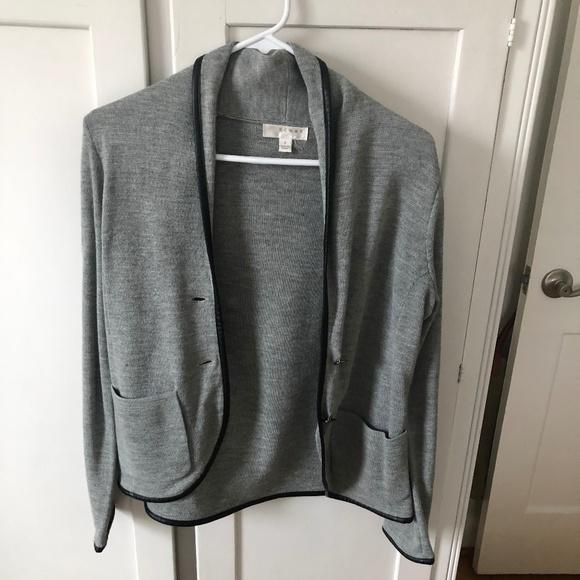 Kenar Jackets & Blazers - Gray Blazer w/ Faux Leather Trim